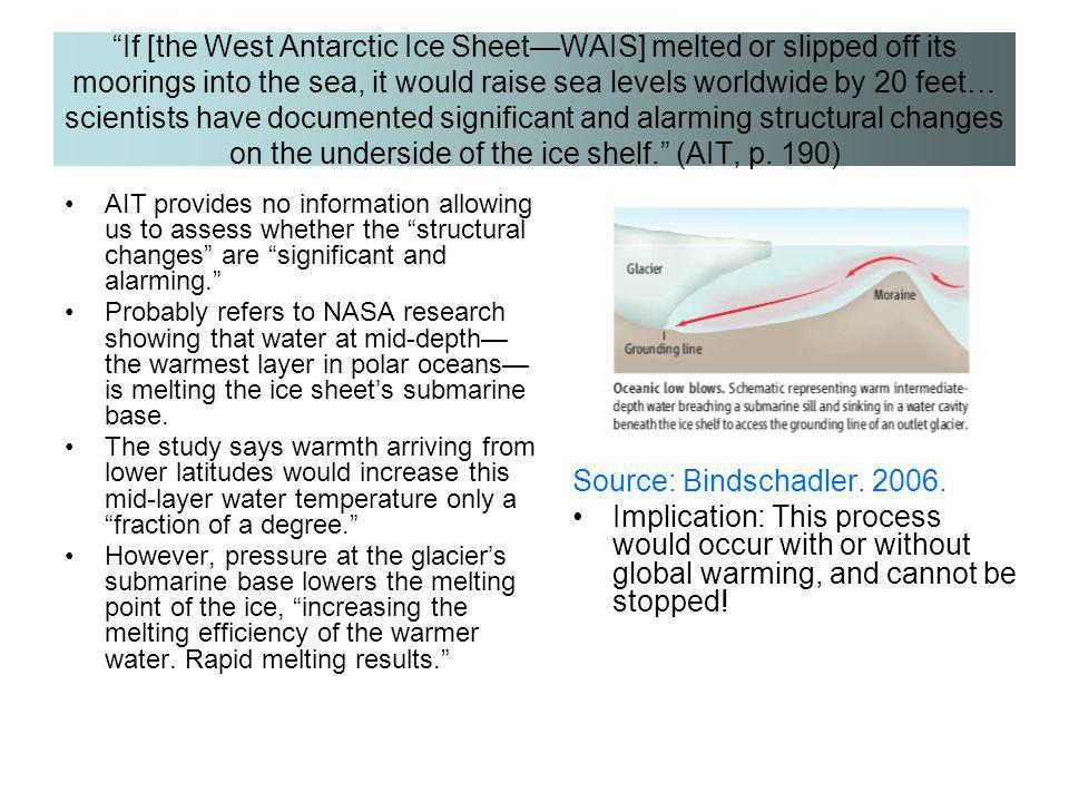 If [the West Antarctic Ice Sheet—WAIS] melted or slipped off its moorings into the sea, it would raise sea levels worldwide by 20 feet… scientists have documented significant and alarming structural changes on the underside of the ice shelf. (AIT, p. 190)